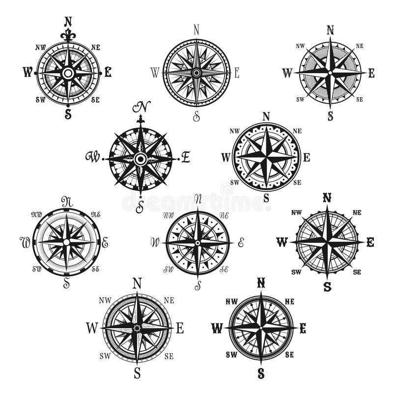O compasso do vintage e a rosa do vento isolaram o grupo de símbolo ilustração royalty free