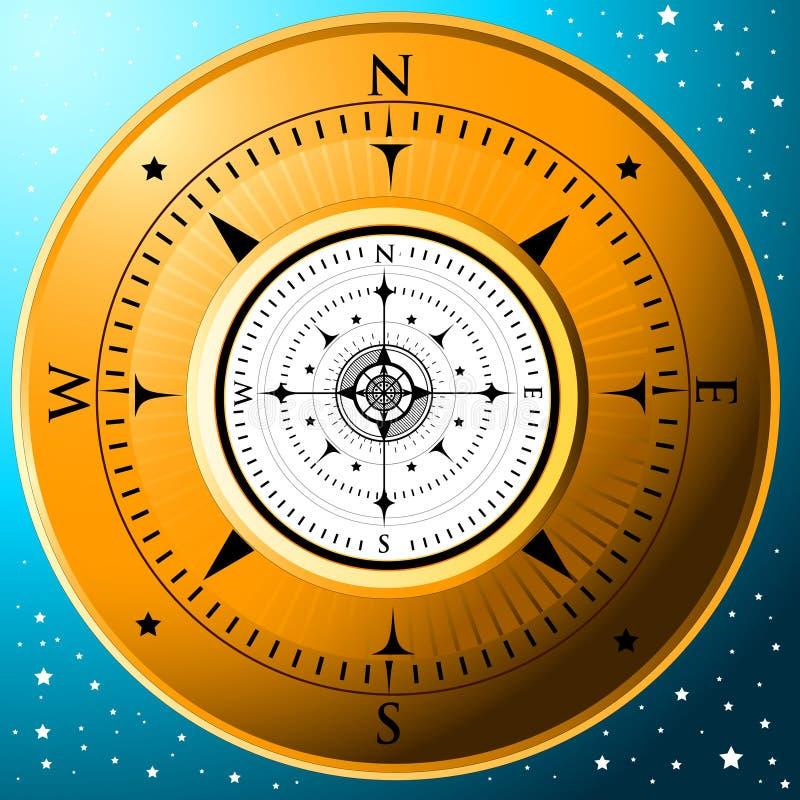O compasso dourado ilustração do vetor