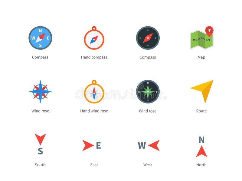 O compasso e o mapa coloriram ícones no fundo branco ilustração royalty free