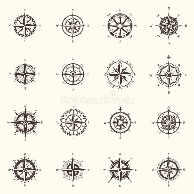O compasso ou o vento velho da navegação do oceano, mar aumentaram ilustração stock