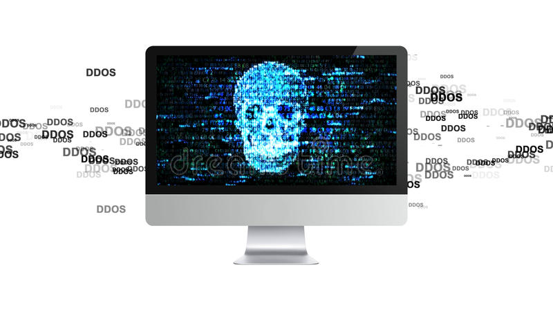 O computador é quebrado Ataque de DDOS, Trojan da infecção, ataques do vírus ilustração stock