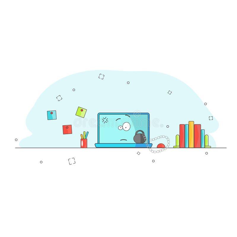 O computador é sobrecarregado e lento Caráter engraçado do computador dos desenhos animados da divisão com peso e corrente Doente ilustração stock