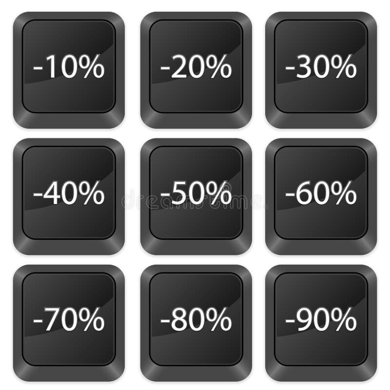 O computador abotoa a dedução ilustração stock
