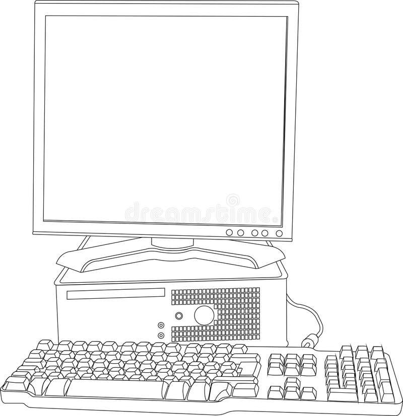 O computador com o monitor e o teclado ilustração royalty free