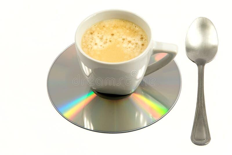 O computador dedicou-se o café, sinal da manhã do esforço fotografia de stock royalty free