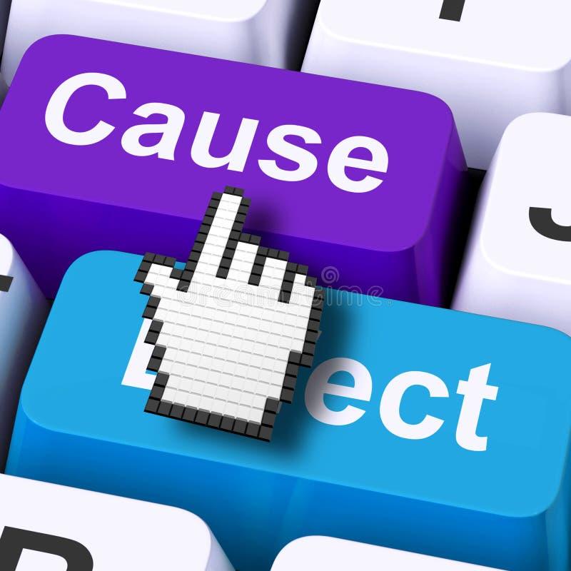 O computador do efeito da causa significa a ação ou a reação da consequência ilustração do vetor
