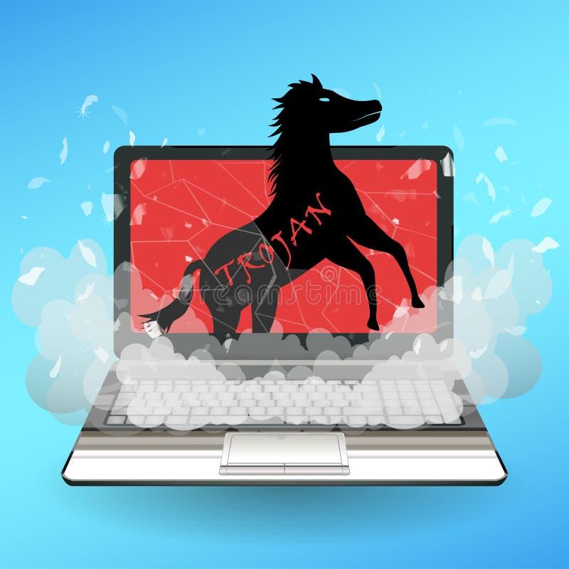 O computador do vírus do cavalo de troia destrói o portátil ilustração do vetor