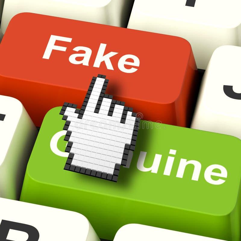 O computador falsificado significa o produto artificial ou falsificado ilustração stock