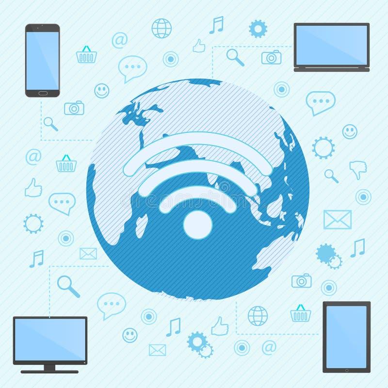 O computador, o smartphone, o portátil e a tabuleta conectaram na rede do wifi com o mapa do mundo no fundo ilustração stock