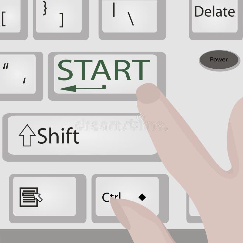 O computador ou o portátil do botão do poder do começo do teclado com dedos Vector a ilustração ilustração stock
