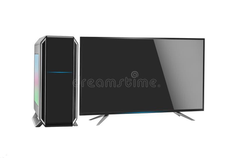 O computador pessoal desktop à moda moderno com rgb conduziu a iluminação no fundo branco foto de stock