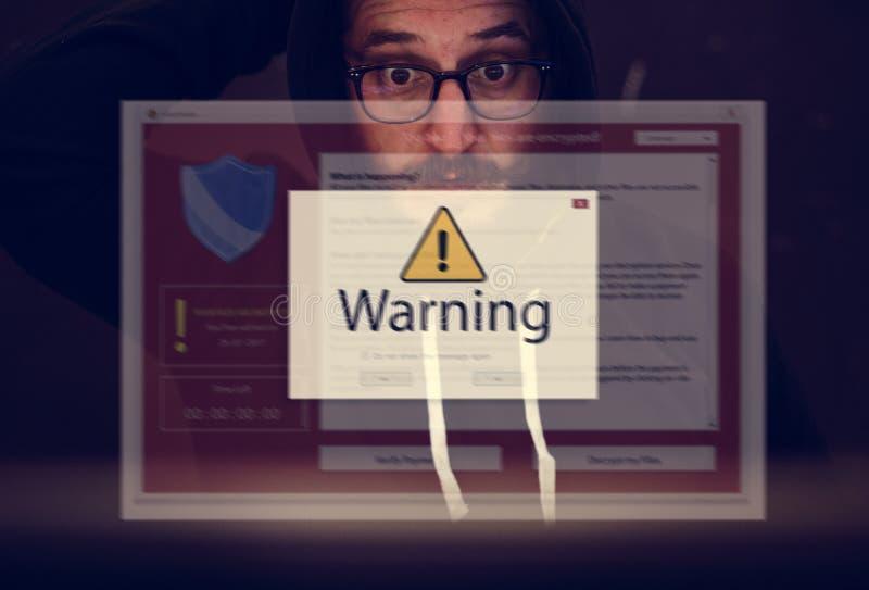 O computador que corta tiro de tela de advertência estala acima fotografia de stock