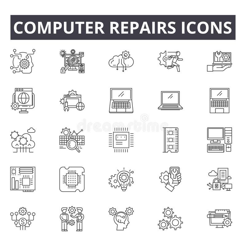 O computador repara a linha ícones do conceito, sinais, grupo do vetor, conceito linear, ilustração do esboço ilustração do vetor