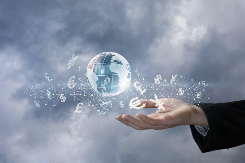 O conceito é o princípio internacional do cashflow fotografia de stock