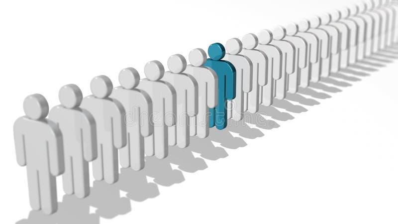 O conceito abstrato do negócio da diferença e da individualidade, da unicidade e da liderança, únicos povos do azul 3D figura na  ilustração do vetor