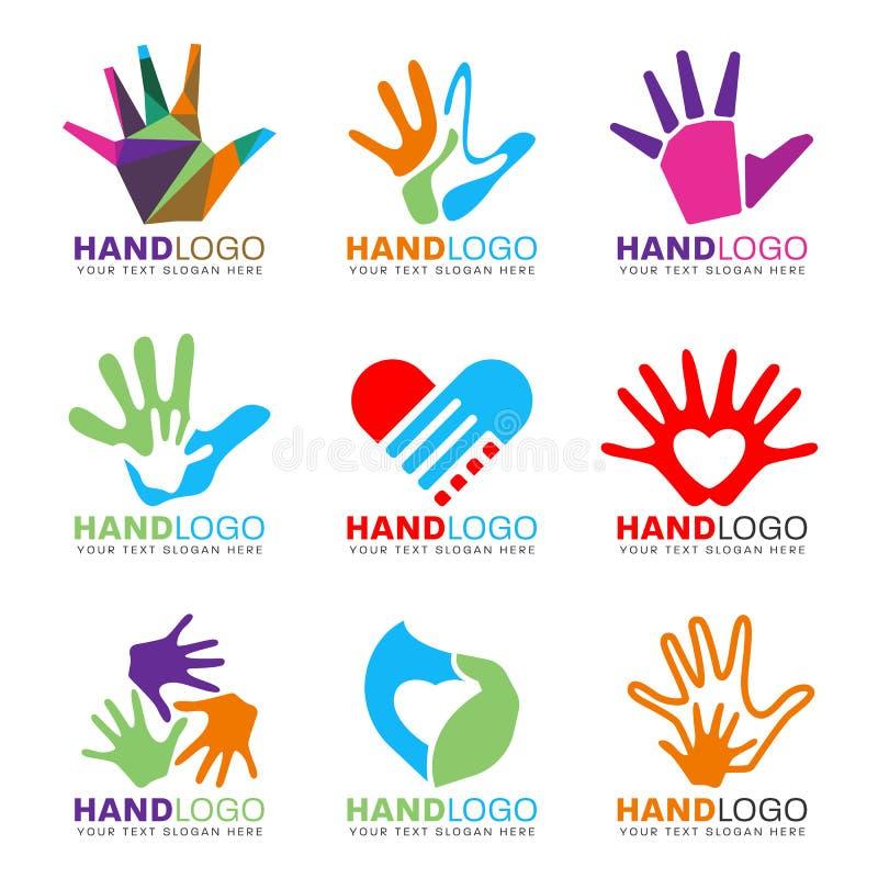 O conceito colorido do logotipo da mão e do coração denomina a cenografia do vetor ilustração do vetor