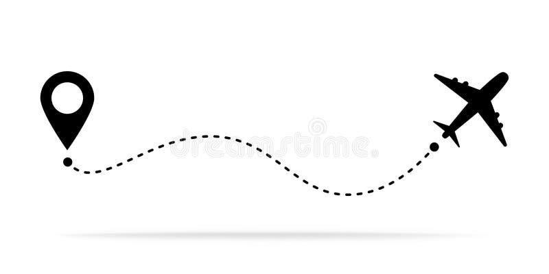 O conceito com pinos do mapa, GPS do curso do avião aponta Linha ícone do trajeto Conceito ou tema do ponto do começo do voo ilustração do vetor