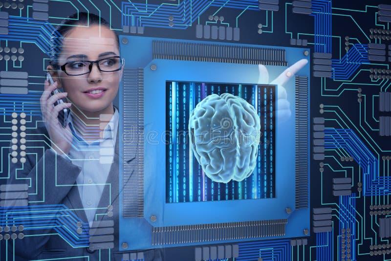 O conceito computive cognitivo com a mulher que pressiona botões foto de stock royalty free