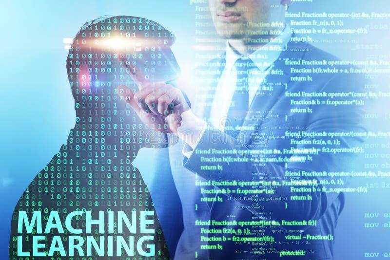 O conceito da aprendizagem de máquina como a tecnologia moderna imagem de stock