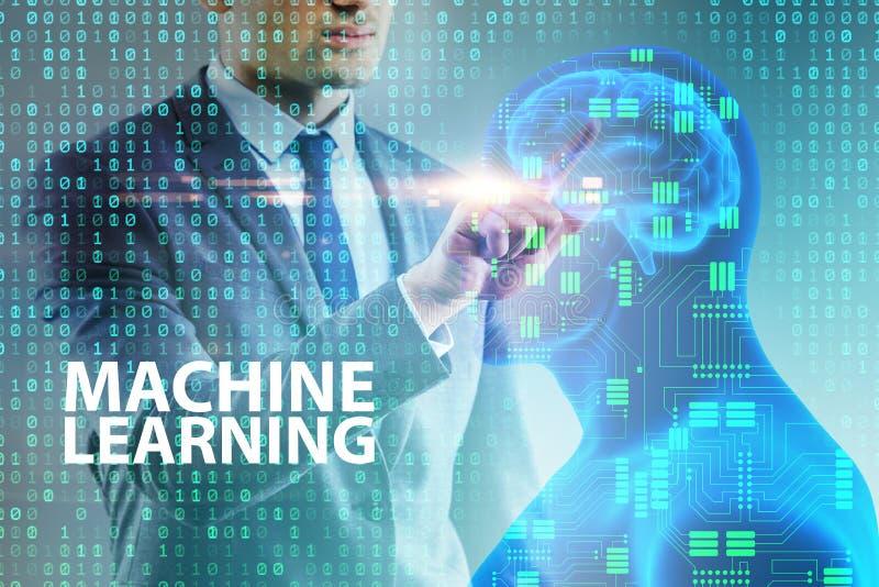 O conceito da aprendizagem de máquina como a tecnologia moderna fotografia de stock royalty free