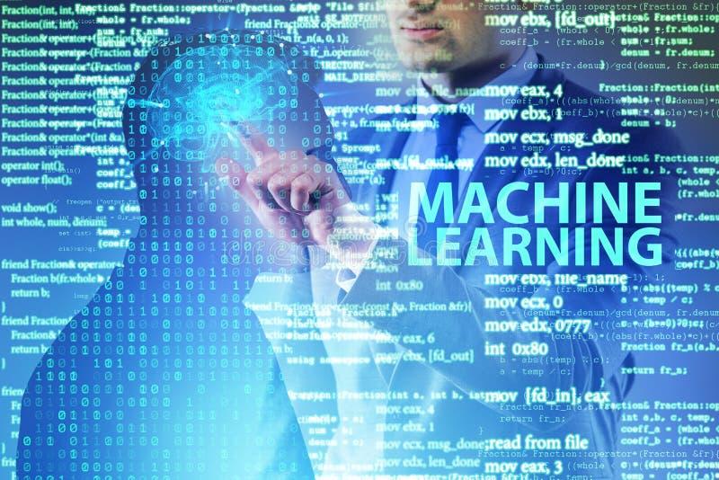 O conceito da aprendizagem de máquina como a tecnologia moderna imagens de stock royalty free