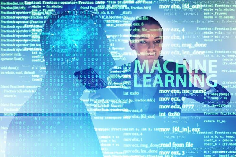 O conceito da aprendizagem de máquina como a tecnologia moderna imagens de stock