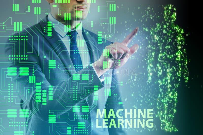 O conceito da aprendizagem de máquina como a tecnologia moderna ilustração do vetor