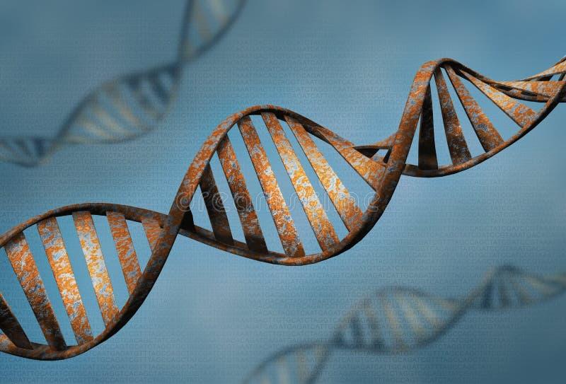 O conceito da biotecnologia do fundo velho da letra do ADN e da proteína, o ADN da oxidação e a sequência 3d da proteína rendem - ilustração do vetor
