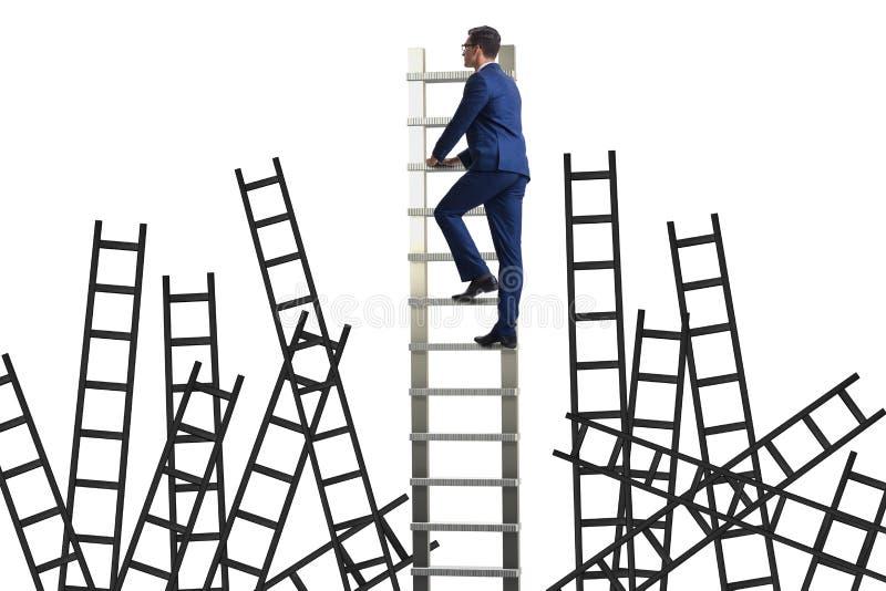 O conceito da carreira com a escada de escalada do homem de negócios fotos de stock royalty free