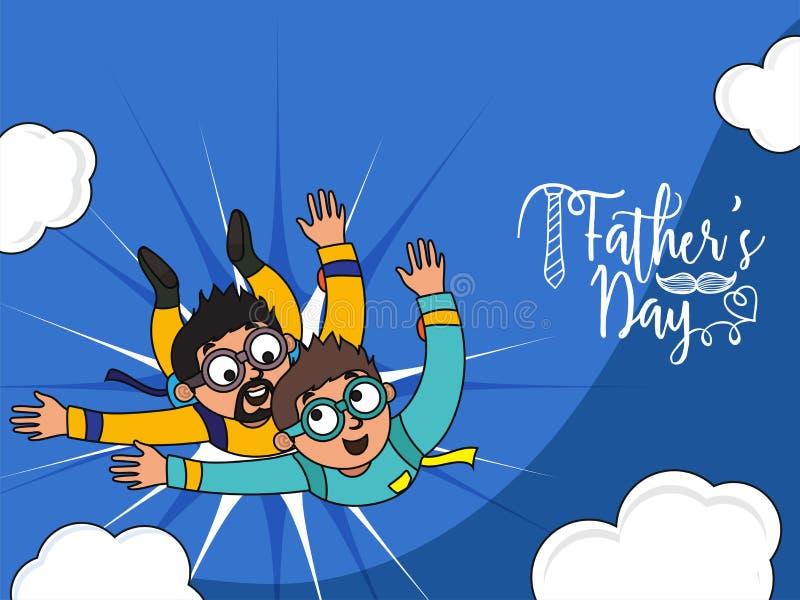 O conceito da celebração do dia do ` s do pai com duo do pai e do filho aprecia s ilustração do vetor