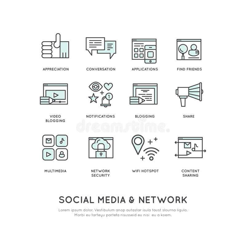 O conceito da conexão de rede social, como, parte, segue, notificação, relógio ilustração do vetor