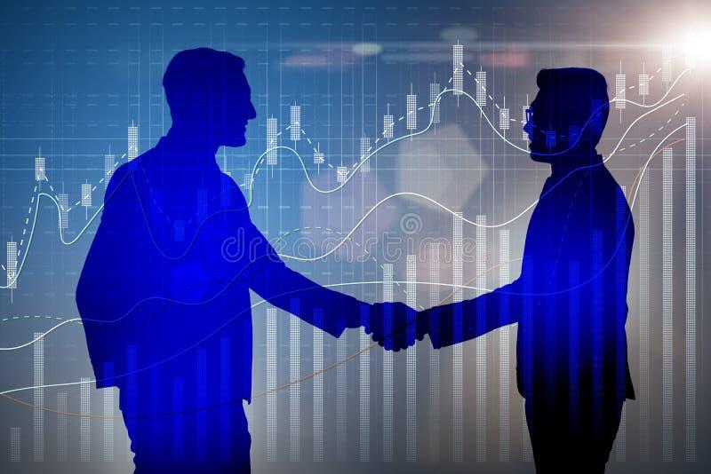 O conceito da cooperação do negócio com homens de negócios entrega a agitação ilustração do vetor
