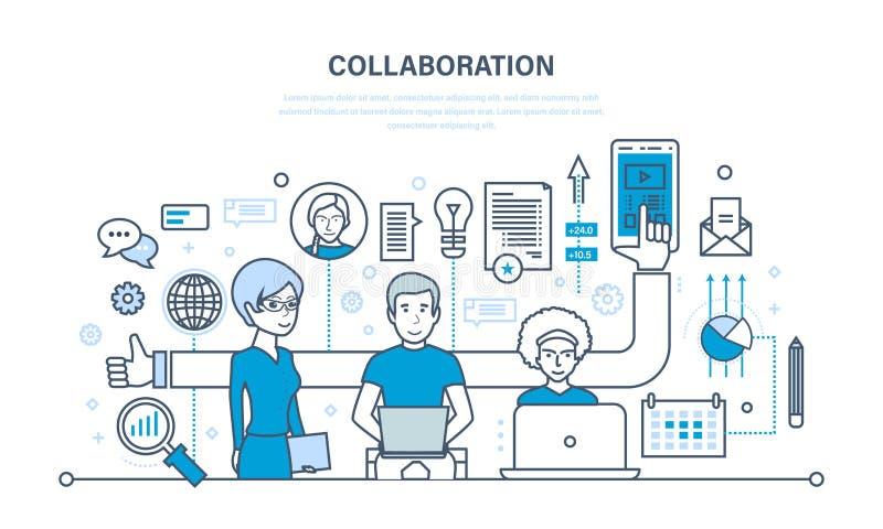 O conceito da cooperação, parcerias, trabalhos de equipa, uma aproximação integrada ilustração royalty free
