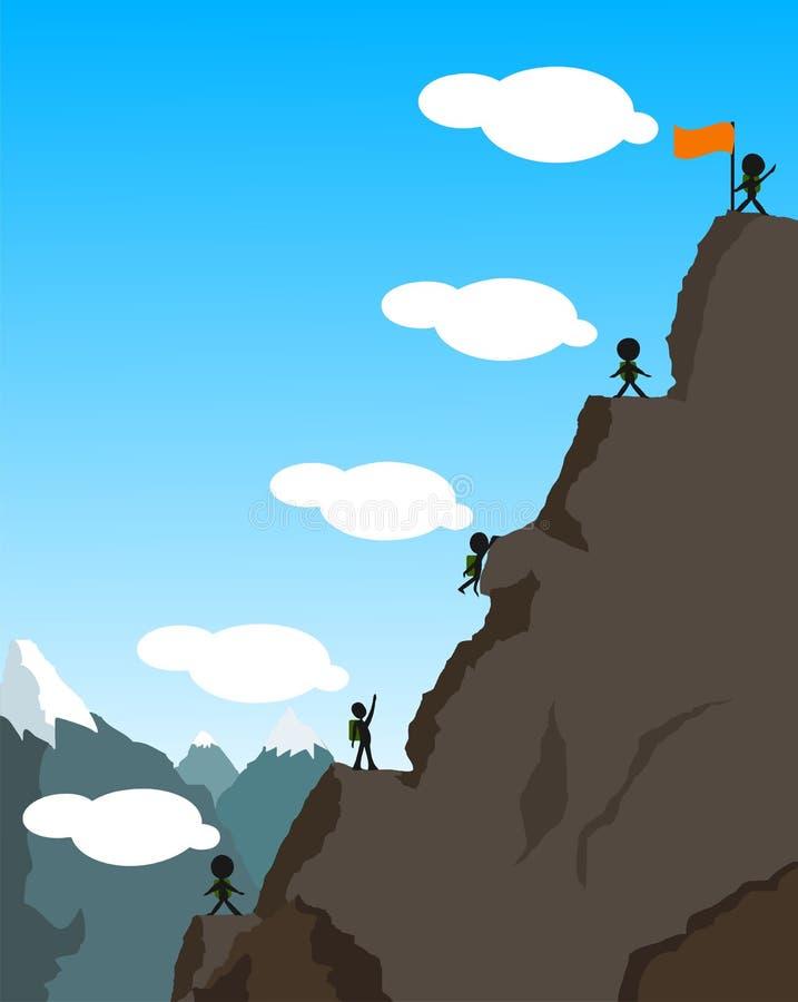 O conceito da crise financeira Escalada na montanha foto de stock royalty free