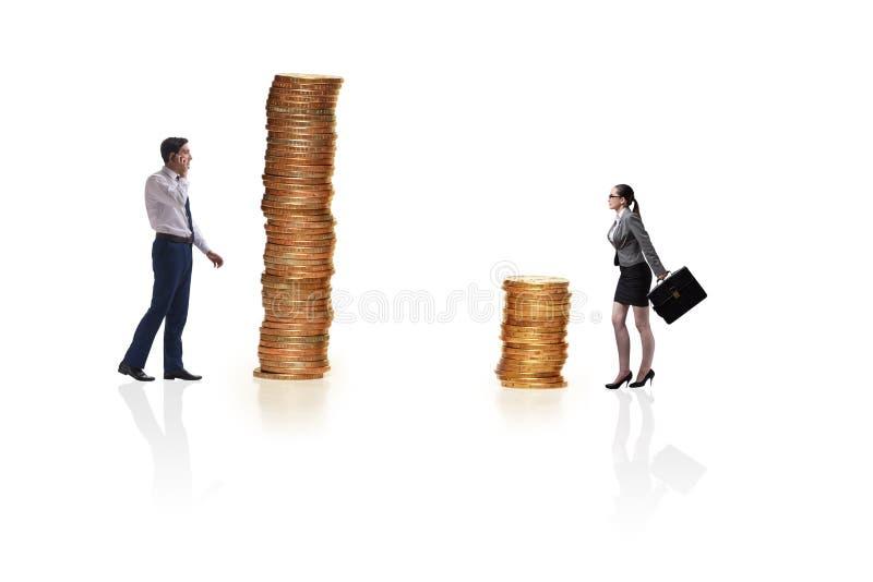 O conceito da diferença desigual do pagamento e de gênero entre a mulher do homem foto de stock
