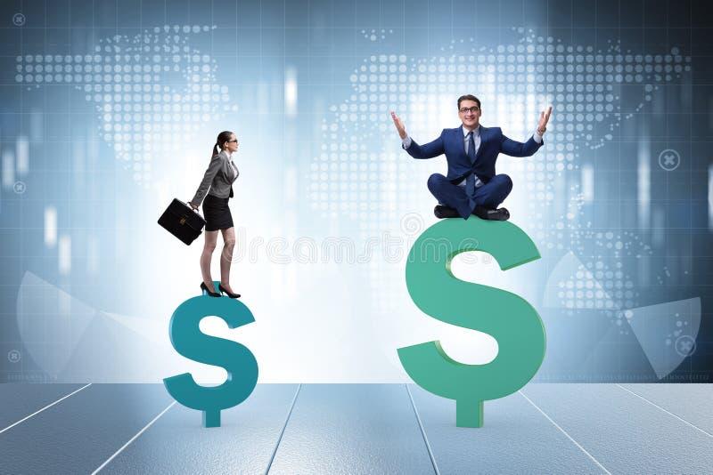 O conceito da diferença desigual do pagamento e de gênero entre a mulher do homem fotografia de stock royalty free