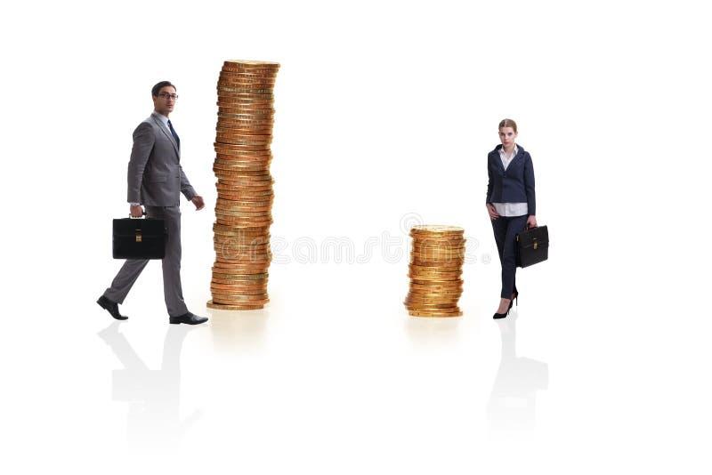 O conceito da diferença desigual do pagamento e de gênero entre a mulher do homem imagem de stock royalty free