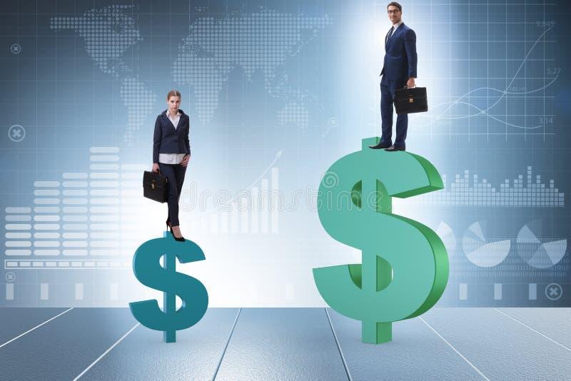 O conceito da diferença desigual do pagamento e de gênero entre a mulher do homem fotos de stock