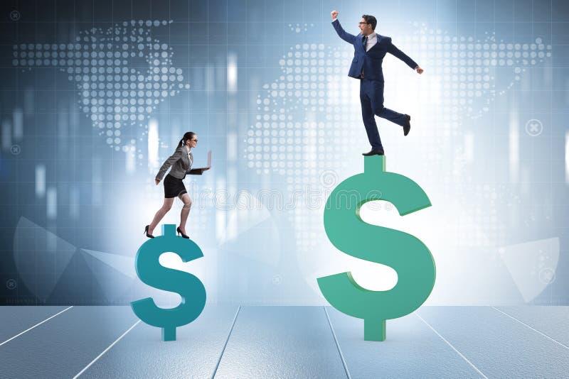 O conceito da diferença desigual do pagamento e de gênero entre a mulher do homem fotos de stock royalty free