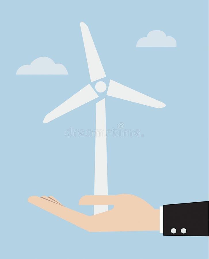 O conceito da ecologia com mão dá a central elétrica de energias eólicas ilustração royalty free