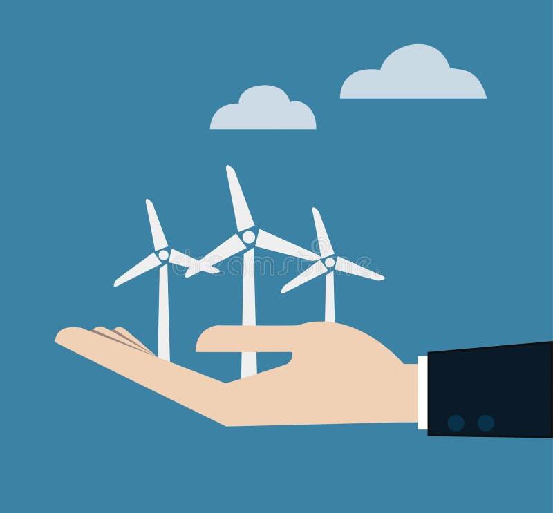 O conceito da ecologia com mão dá a central elétrica de energias eólicas. ilustração stock