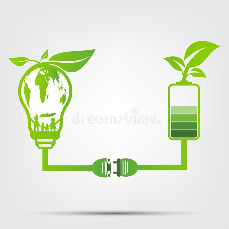 O conceito da ecologia da família no mundo está no verde de poupança de energia da ampola A tomada de poder sae do verde da bater ilustração royalty free