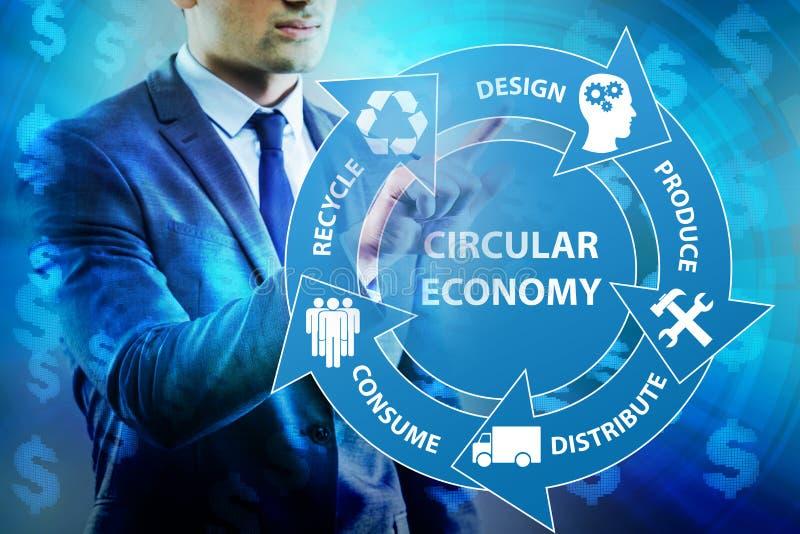 O conceito da economia circular com homem de negócios ilustração stock