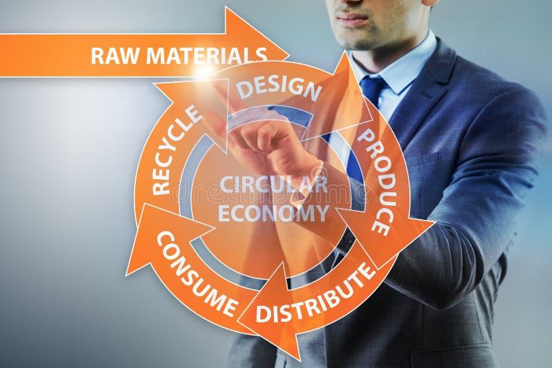 O conceito da economia circular com homem de negócios foto de stock