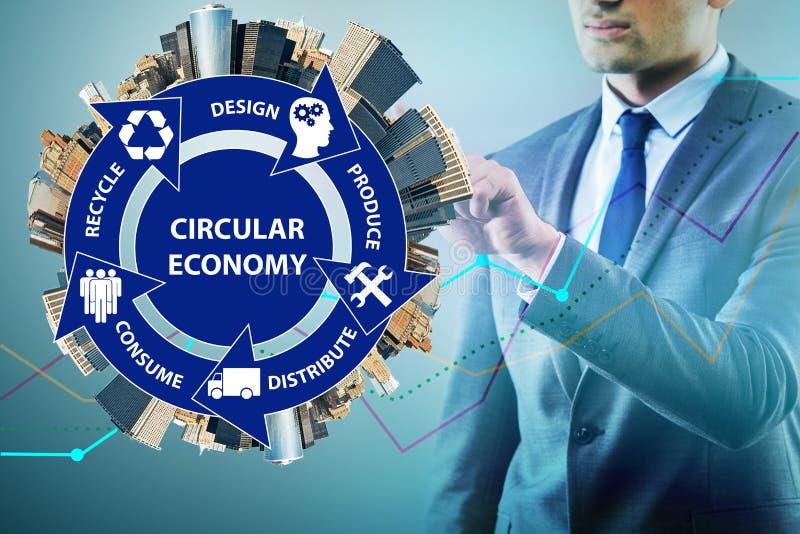 O conceito da economia circular com homem de negócios fotografia de stock royalty free