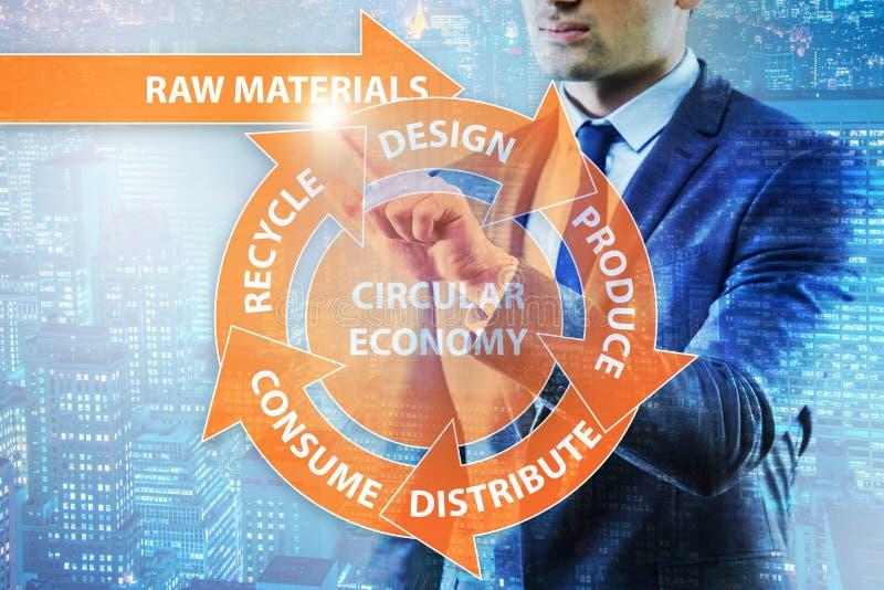 O conceito da economia circular com homem de negócios fotos de stock