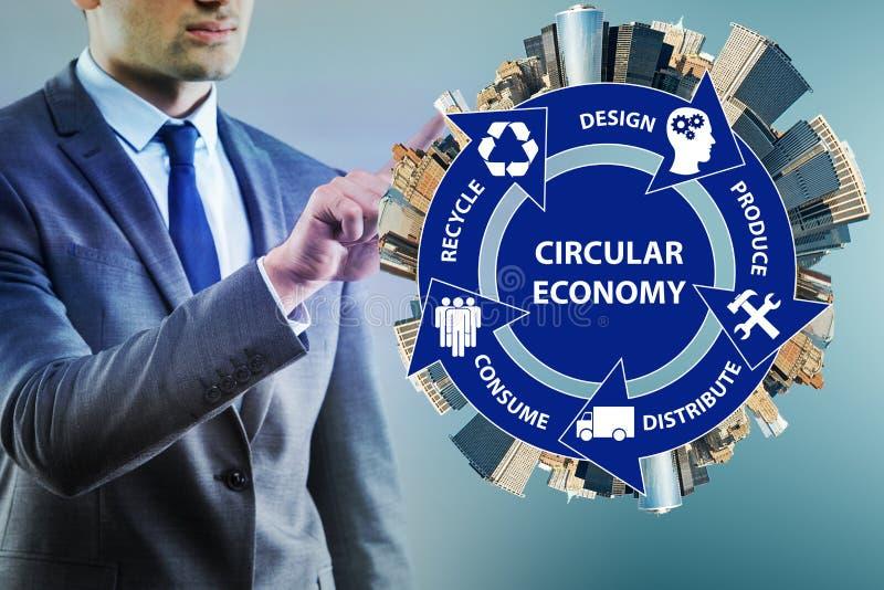 O conceito da economia circular com homem de negócios fotografia de stock