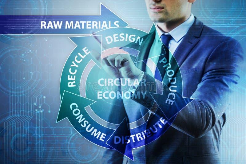 O conceito da economia circular com homem de negócios imagens de stock royalty free