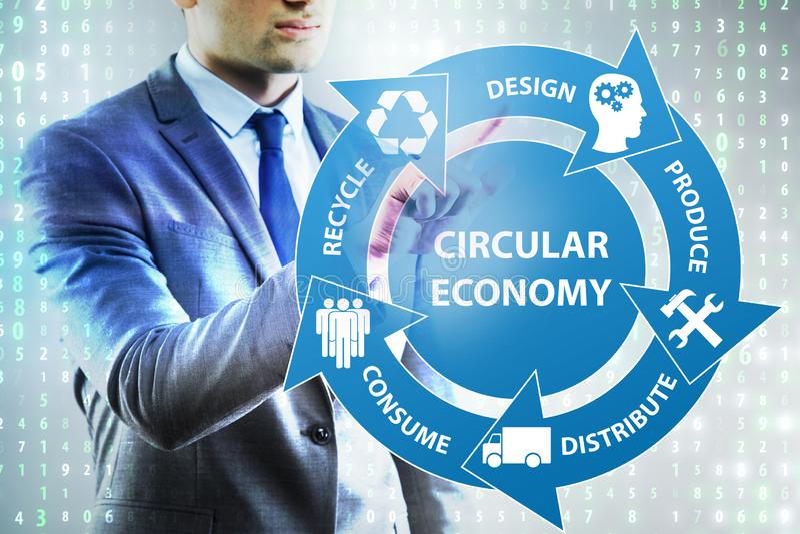 O conceito da economia circular com homem de negócios imagem de stock royalty free