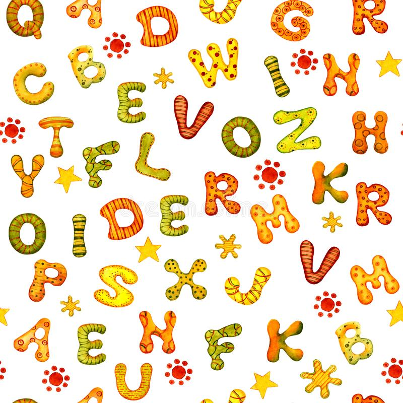 O conceito da educa??o Alfabeto inglês de letras coloridos da aquarela em um fundo branco para o projeto da bandeira, ilustração stock
